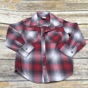 Red and gray flannel shirt with snaps - 3T